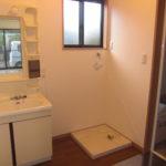 脱衣室の洗面化粧台と洗濯機置き場